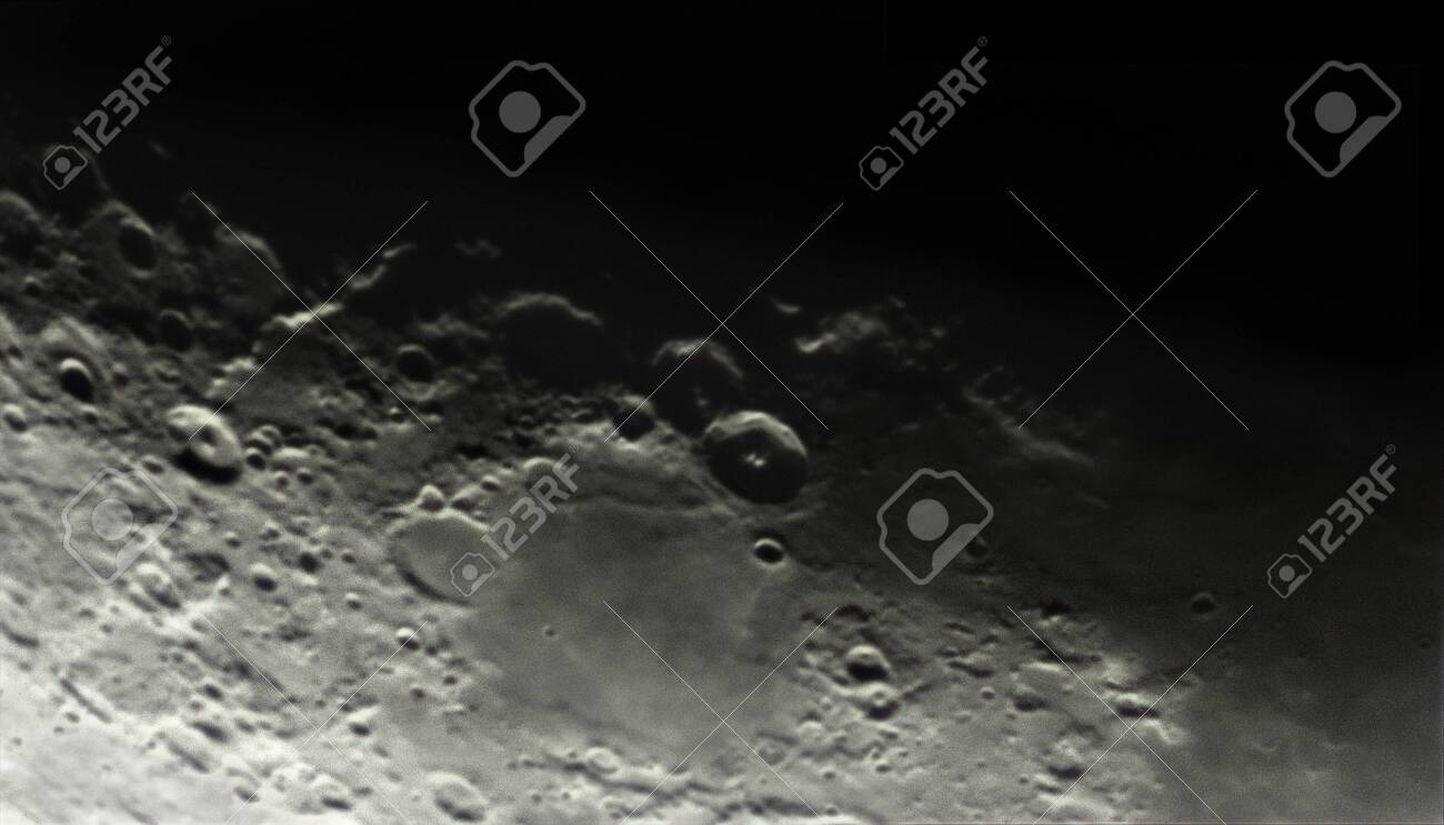 theophilus, cyrillus and catharina region on the moon, seen by telescope whith 15% of the moon illuminated - 145808184