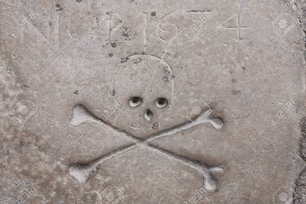 inscriptions and skull and bones of a very old tomb - 145808188