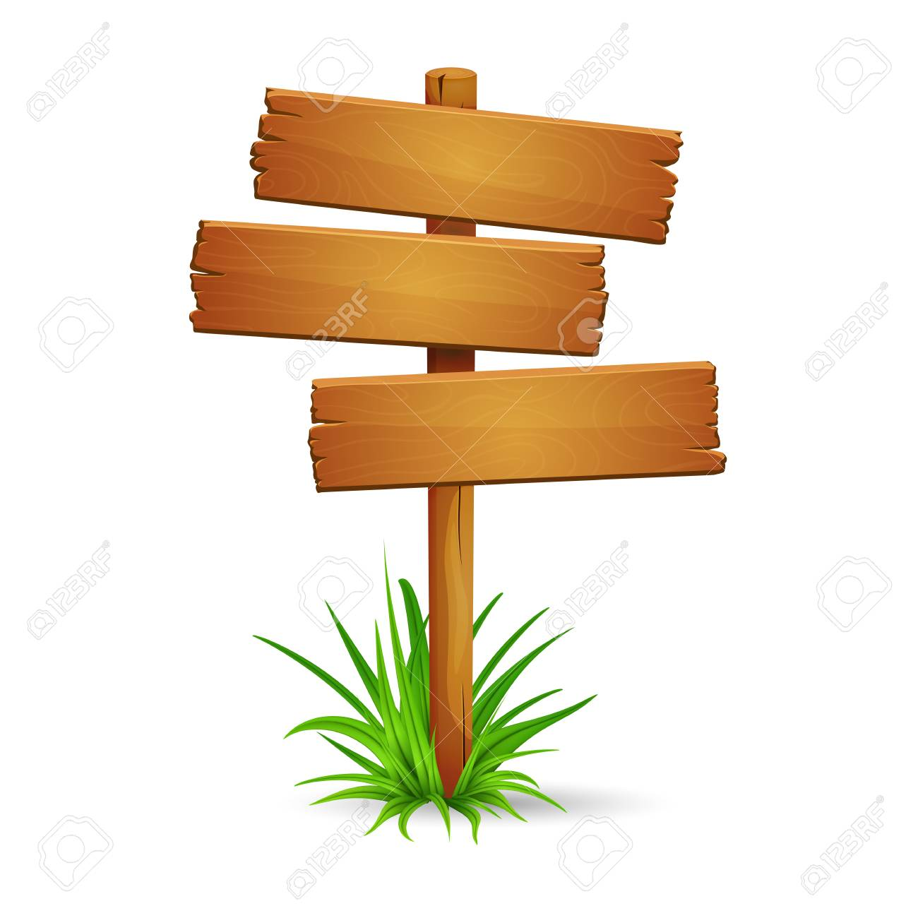 Illustration of old rickety signpost with bunch of green grass isolated on white background. Blank space for text. - 112002892