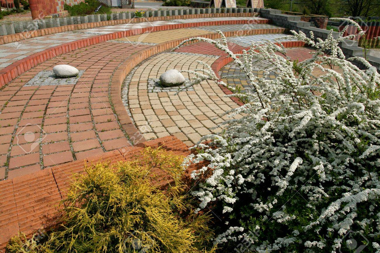 Tiled, Colorful, Decorative Pavement. Sett Blocks Pattern And ...