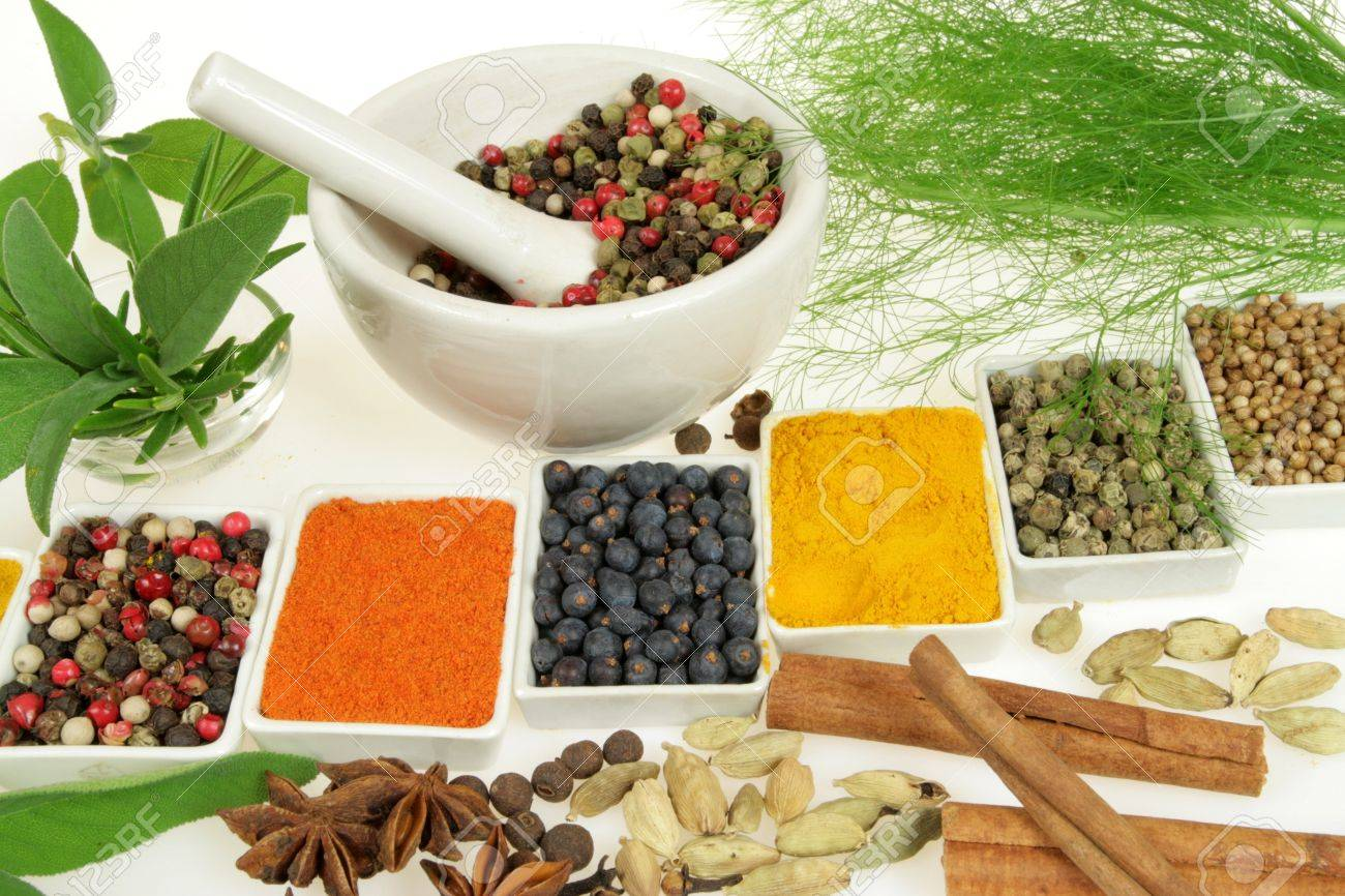 Whole variety of colorful spices. Assortment of cuisine ingredients in ceramic containers. Stock Photo - 4419756