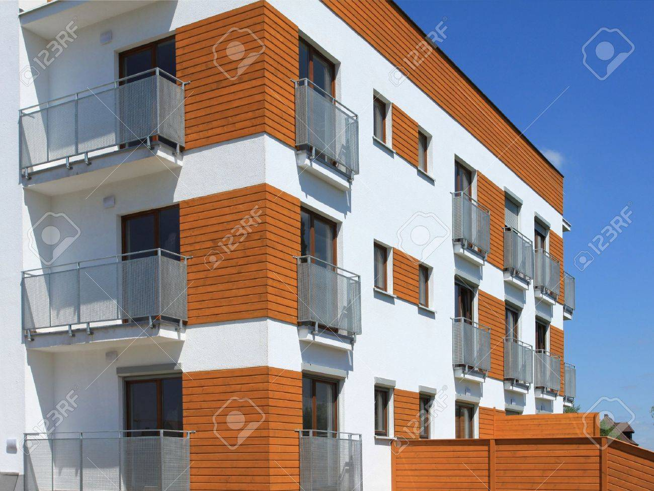 Modern Apartment Building. Freshly Painted Generic Residential Architecture  Stock Photo   7235835