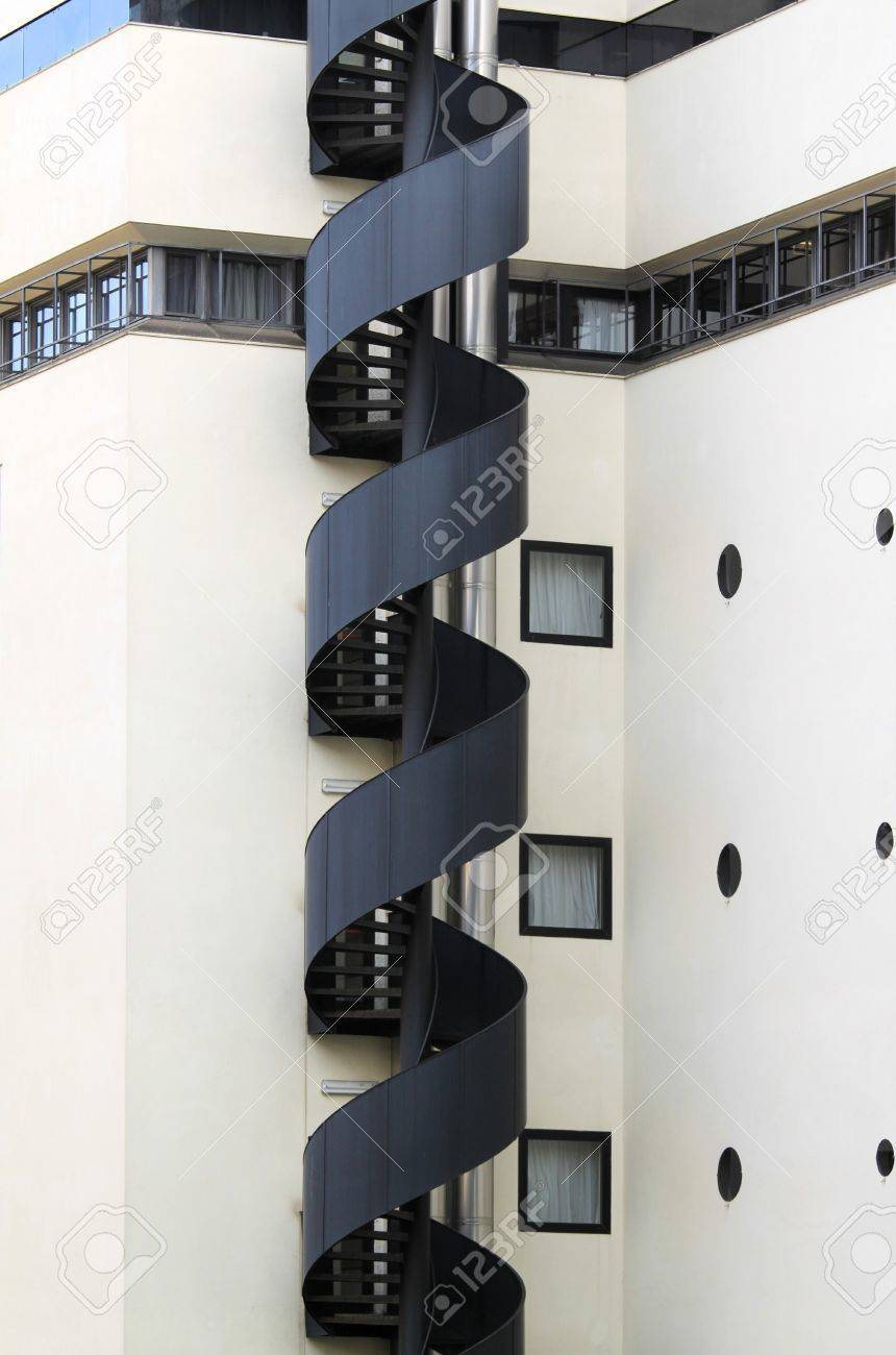 Architecture Photography Equipment evacuation staircase - modern architecture exterior. emergency