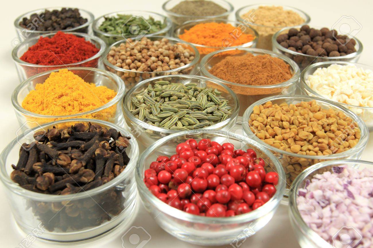 Cuisine ingredients - herbs and spices. Food additives in glass bowls. - 9958960
