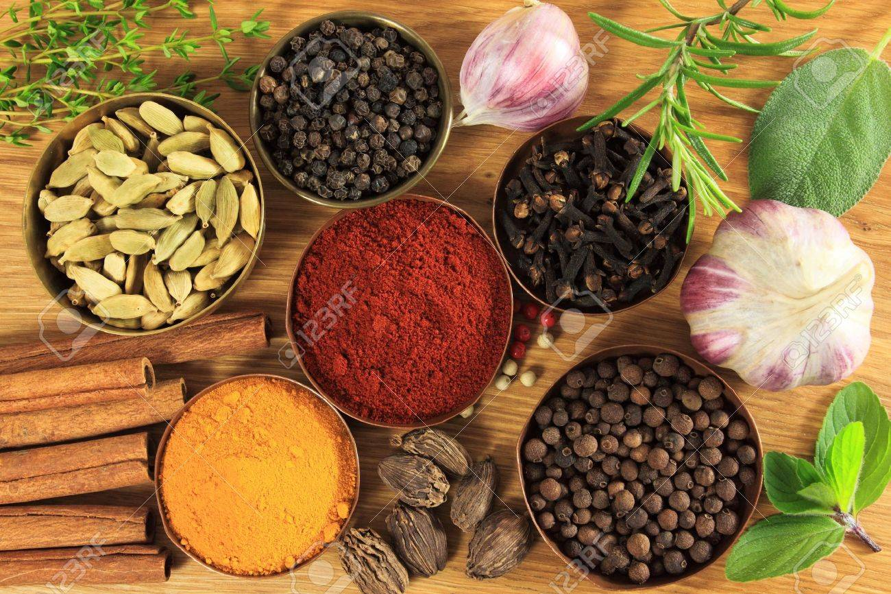 Spices and herbs in metal bowls. Food and cuisine ingredients. Colorful natural additives. - 10359227