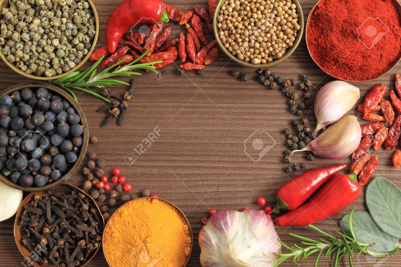Spices and herbs in metal bowls. Food and cuisine ingredients. Colorful natural additives. - 10802156