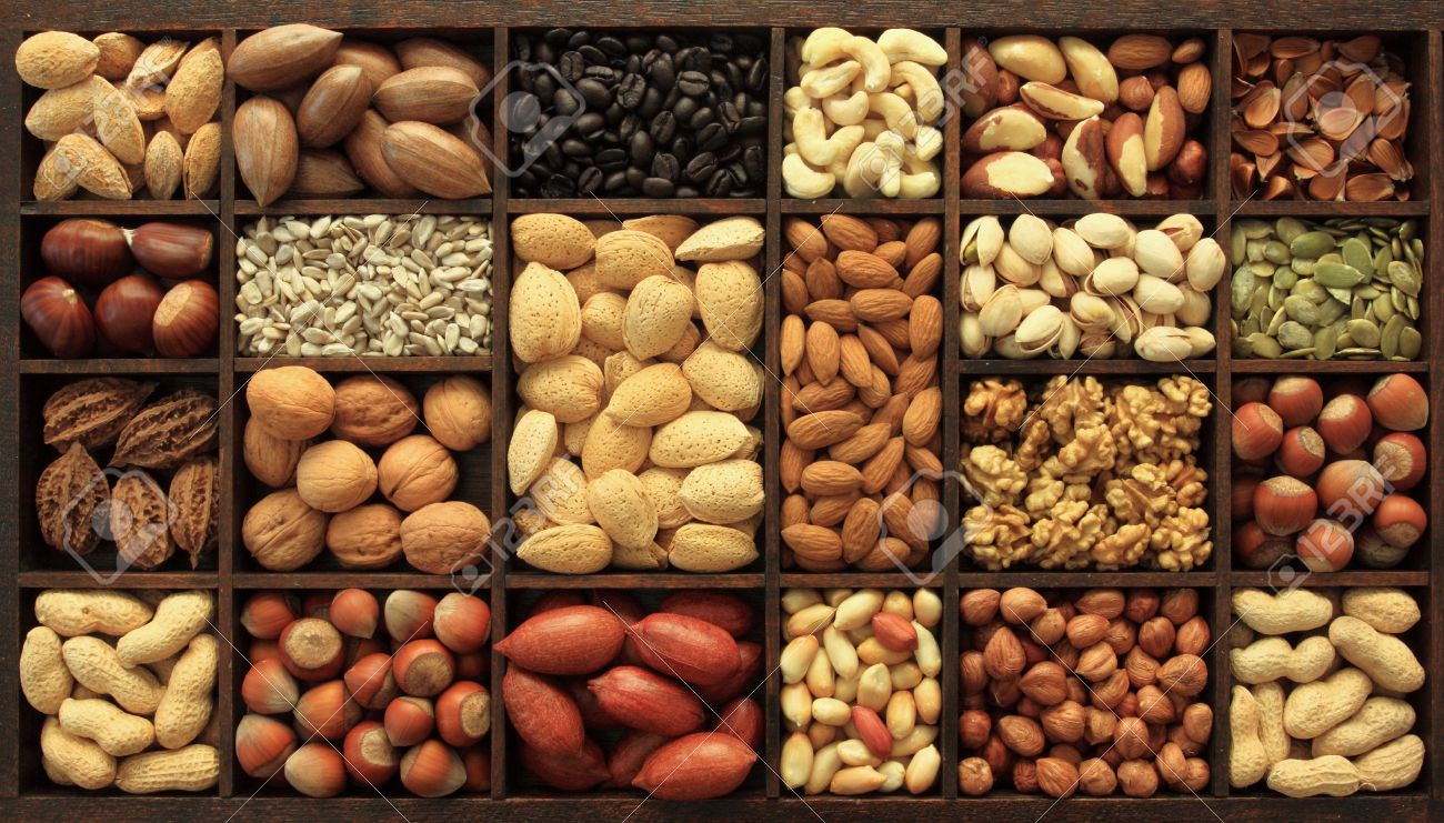 Varieties of nuts and other seeds. Food and cuisine. - 11552779