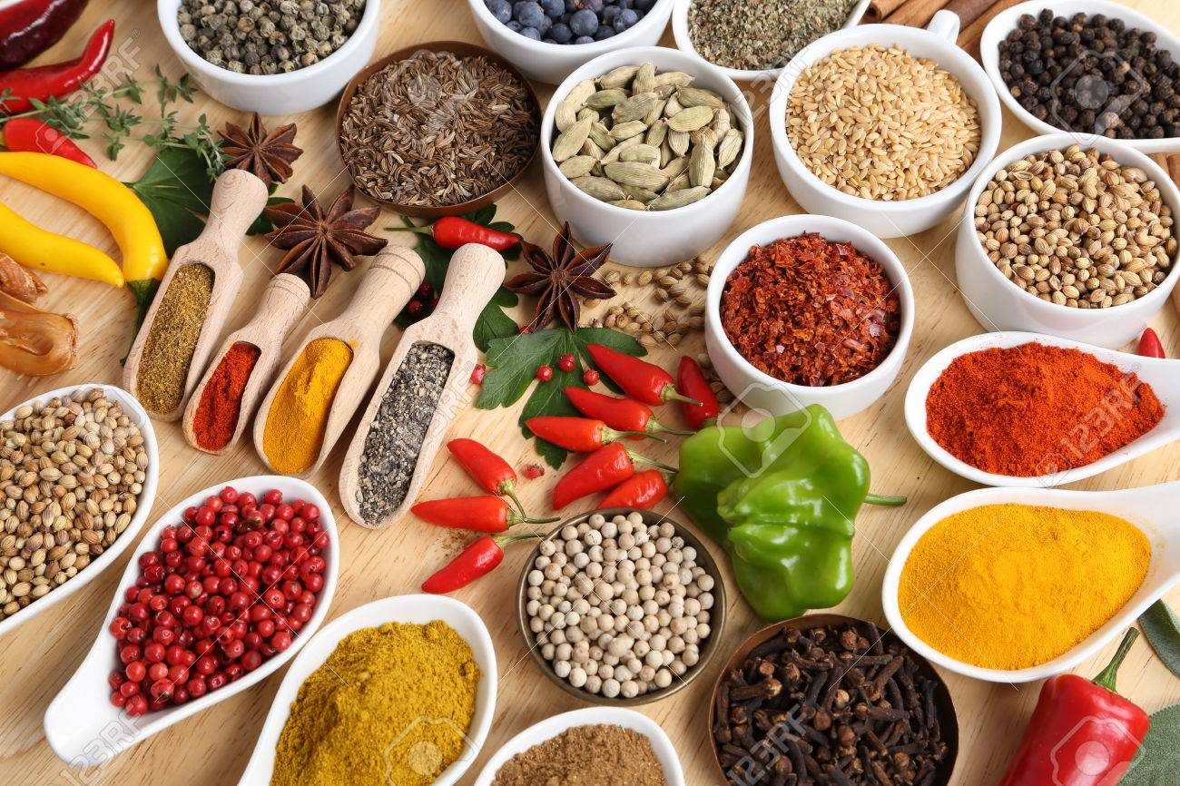 Herbs And Spices In Ceramic Bowls. Aromatic Ingredients And Natural.. Stock  Photo, Picture And Royalty Free Image. Image 65265838.