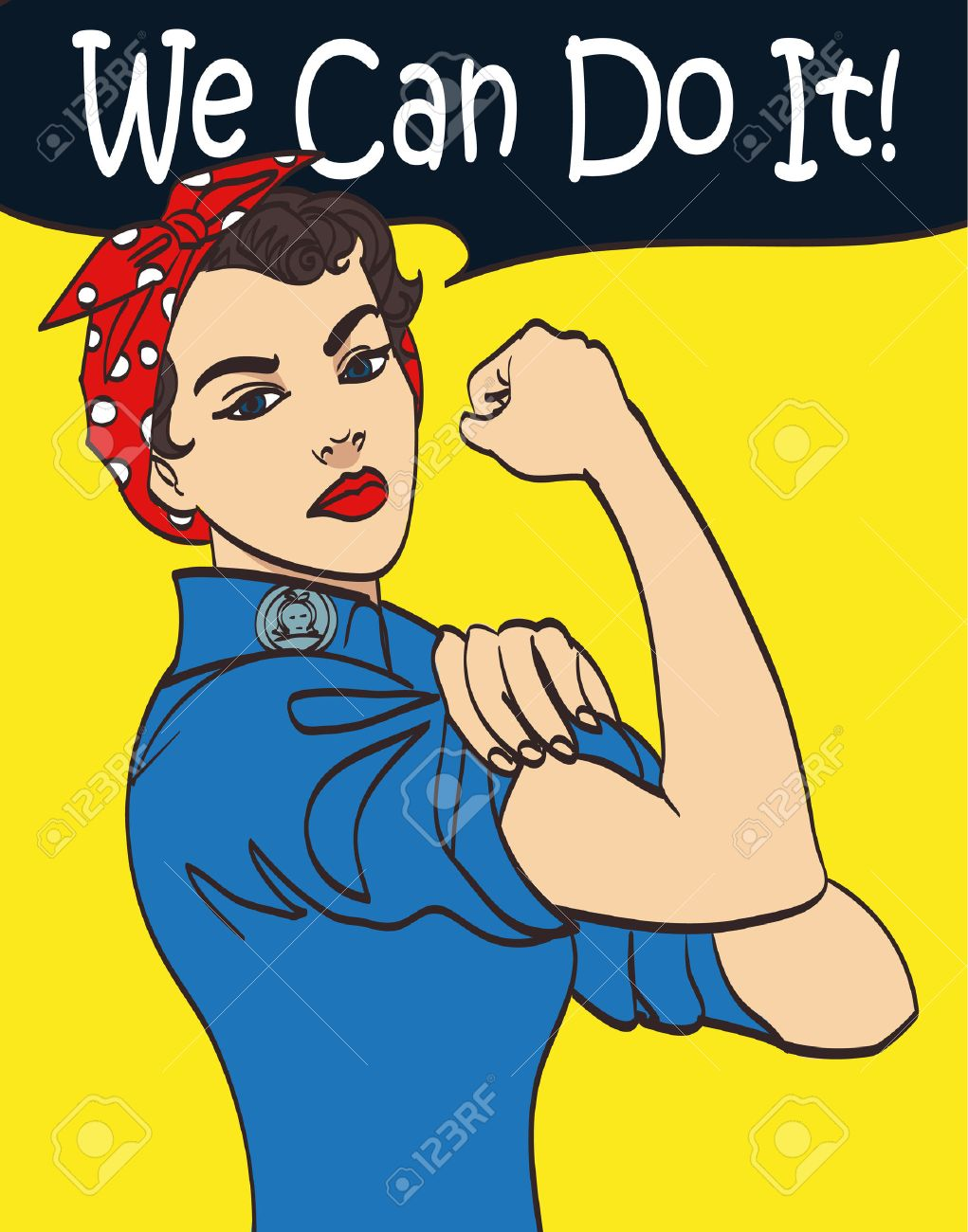 We Can Do It. Cool vector iconic woman's fist symbol of female power and industry. cartoon woman with can do attitude. - 61652287