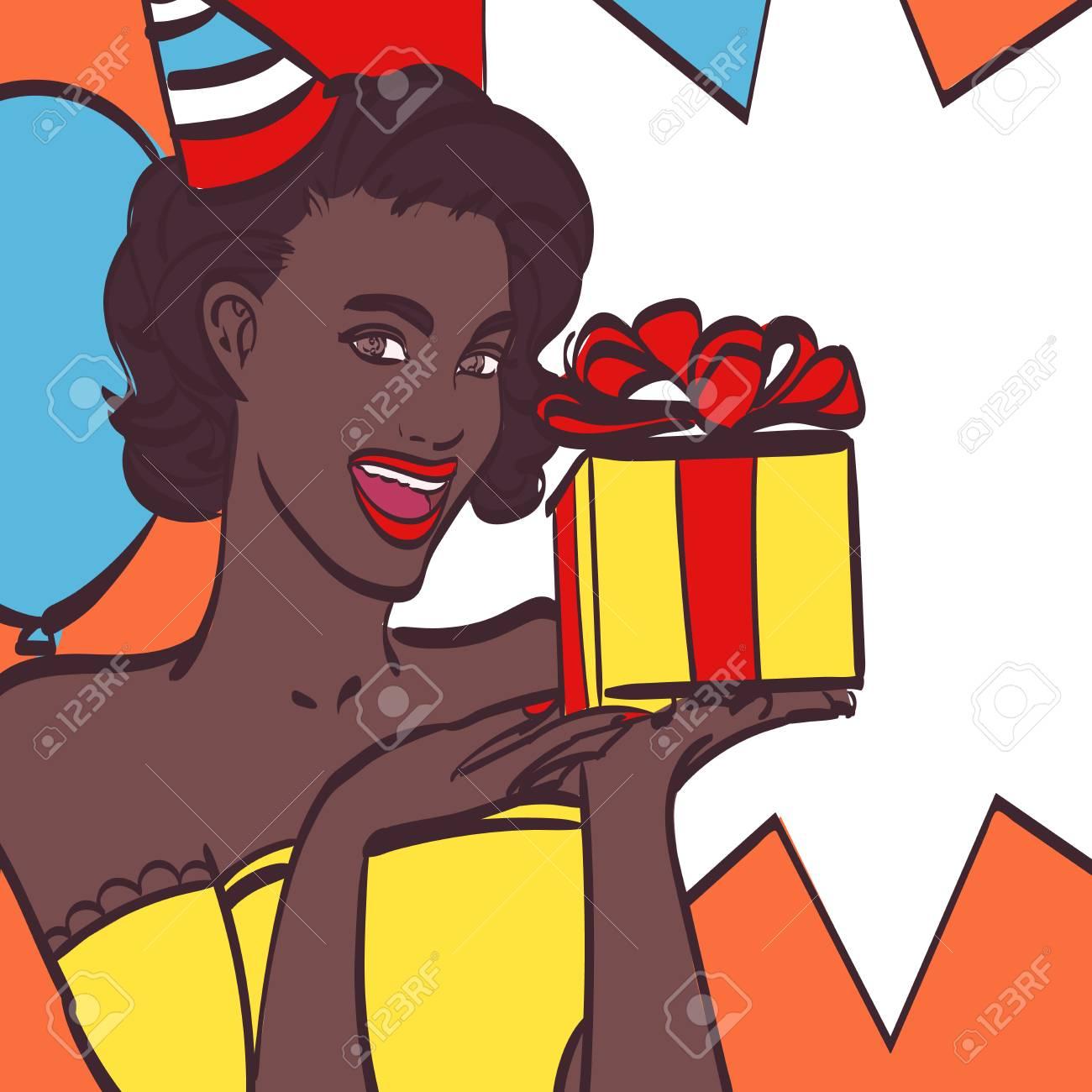 Chica Del Arte Pop Con Burbuja De Pensamiento Invitación De Fiesta Tarjeta De Cumpleaños Hollywood Estrella De Cine Mujer Cómica Señora