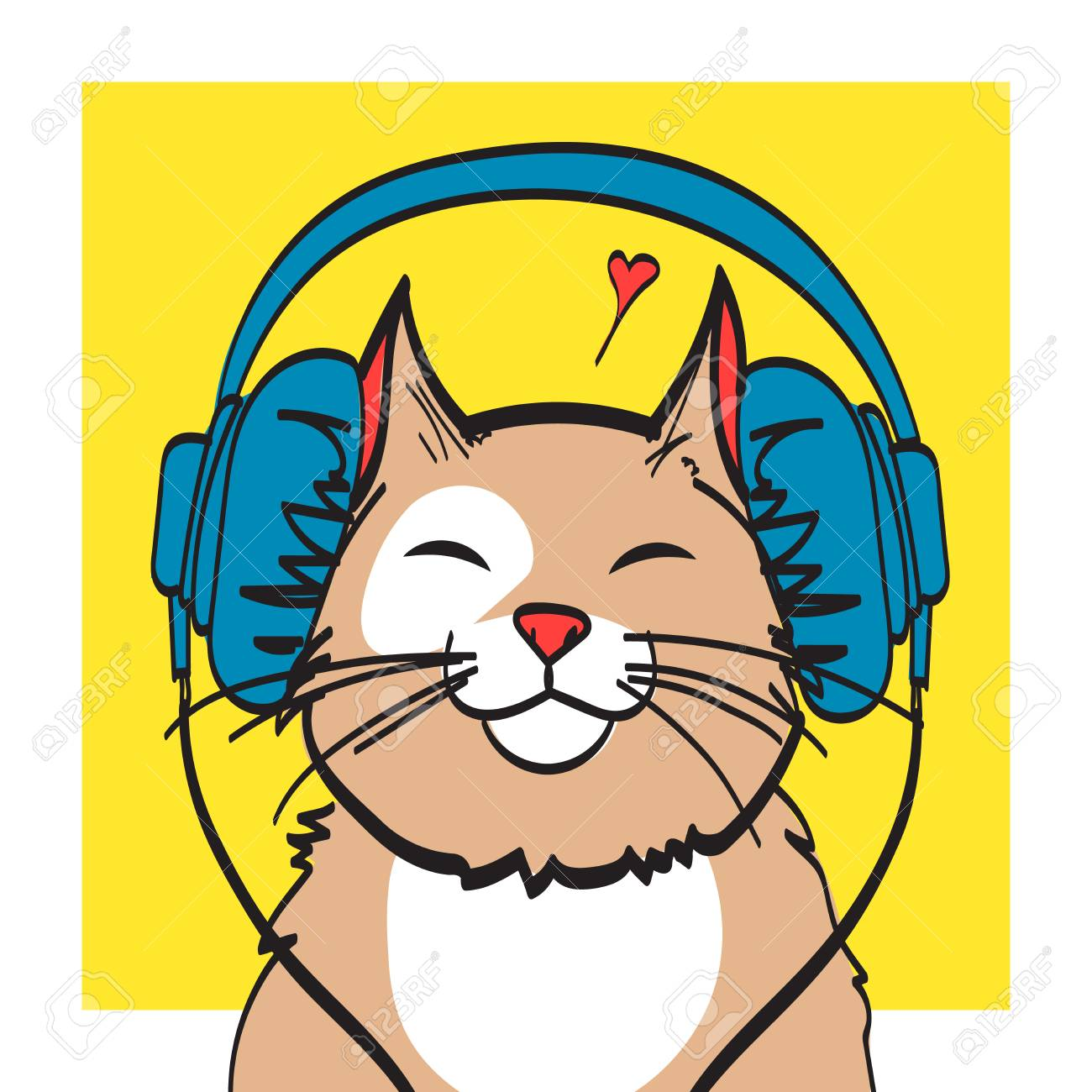 cool vector art of cat with headphone music picture eps 10 rh 123rf com cool vector art backgrounds cool vector art sites
