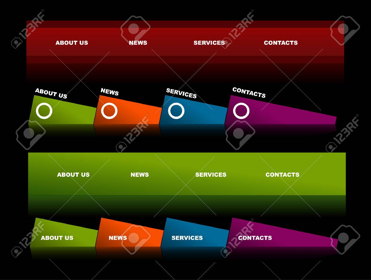 Easy to edit stylish website navigation templates 2 Stock Vector - 4926655