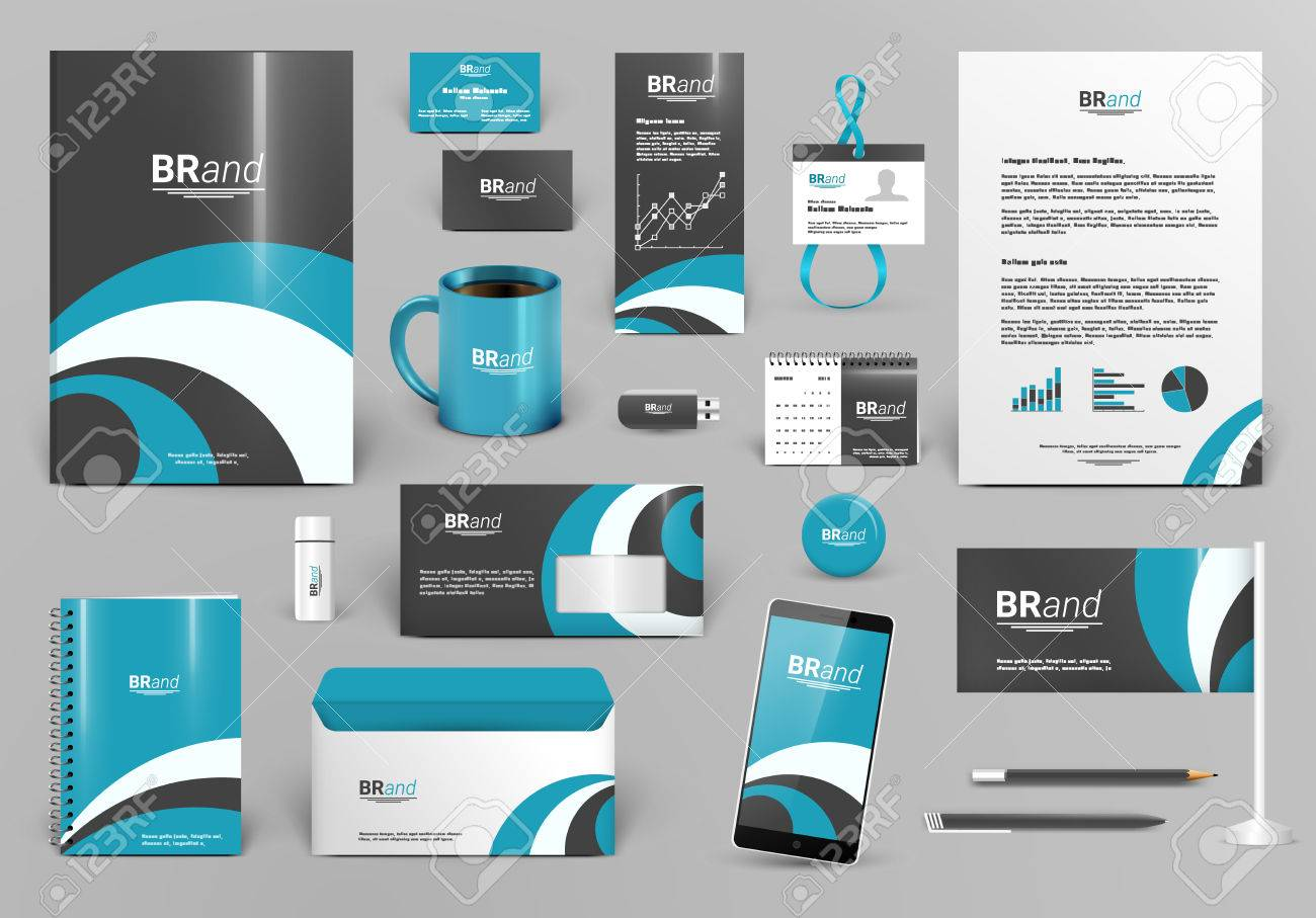 Blau Luxus-Branding-Design-Kit. Premium-Corporate-Identity-Vorlage ...