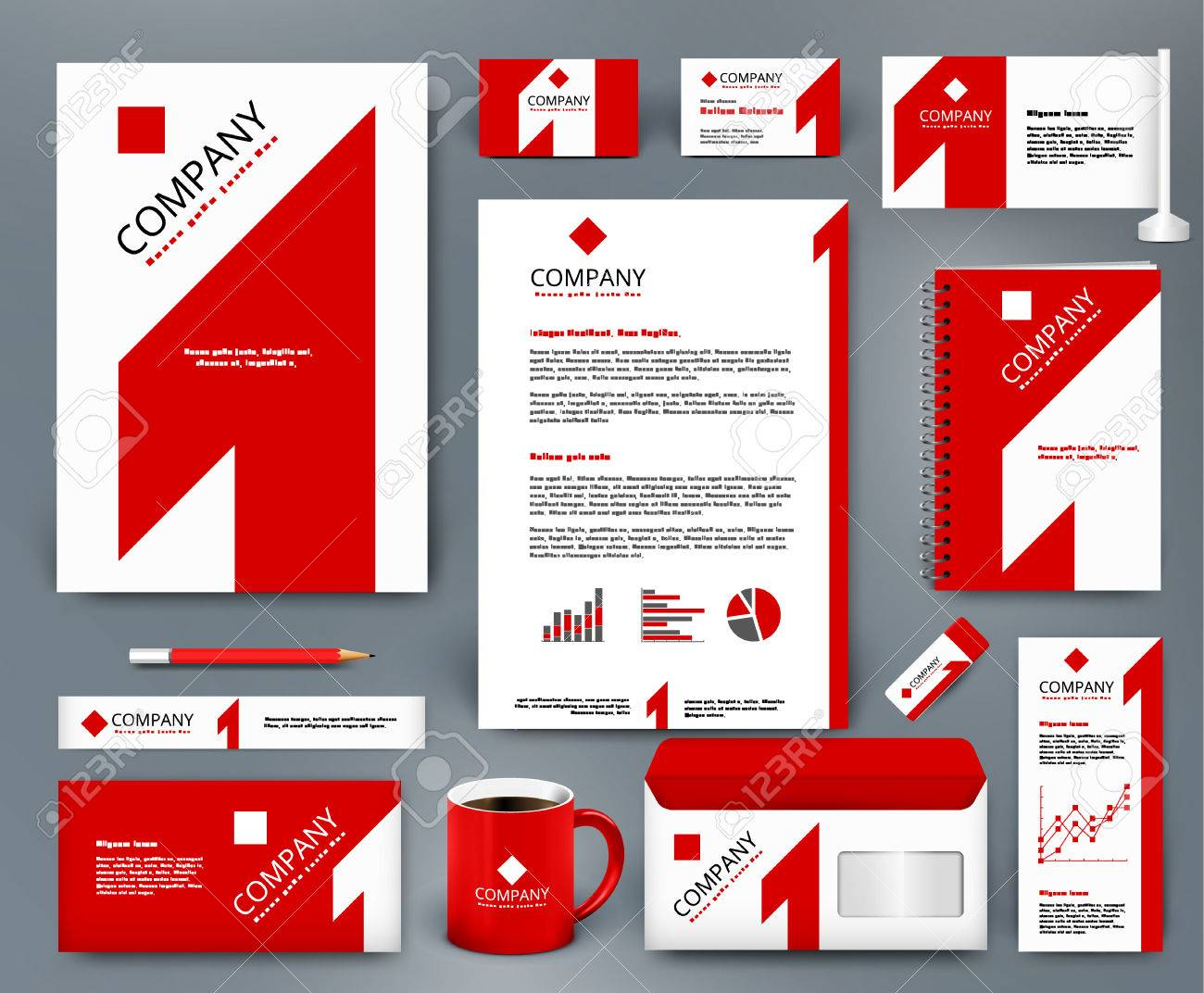 Professional universal branding design kit with red number one on white backdrop. Corporate identity template. Business stationery mockup. Editable vector illustration: folder, mug, etc. - 56861094