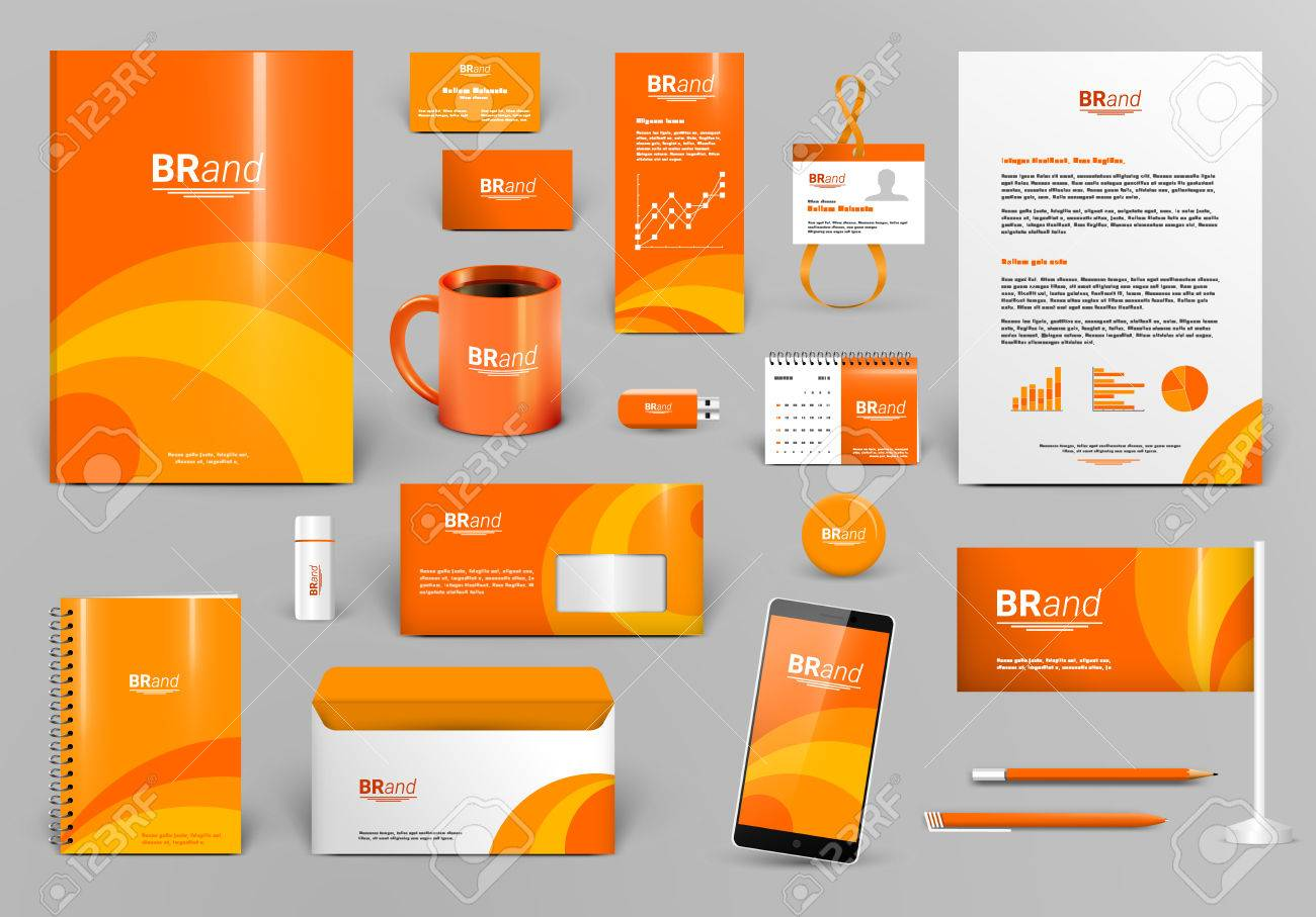 Orange Luxus-Branding-Design-Kit. Identität Vorlage Für Hotel, Shop ...