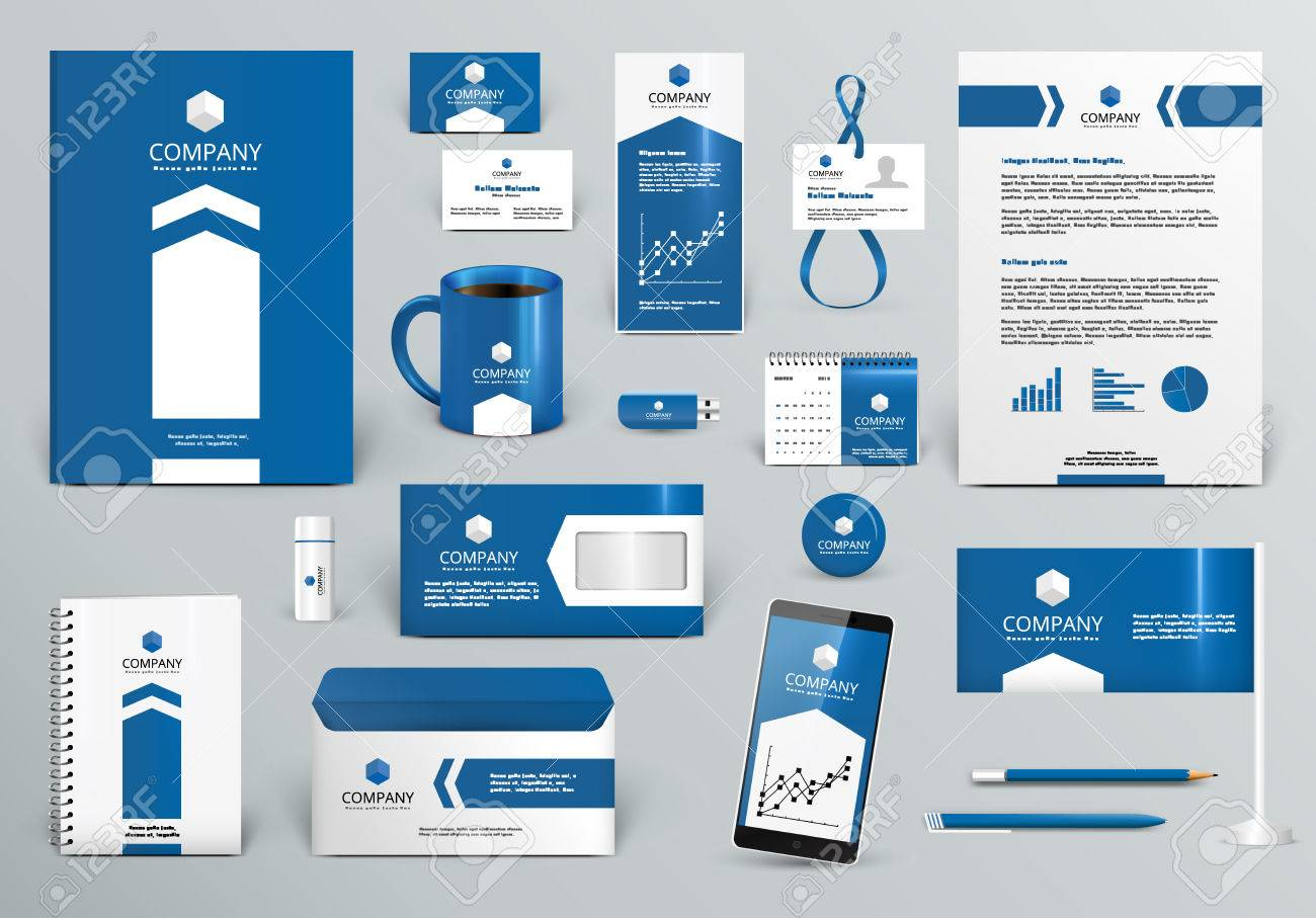 Professional blue luxury branding design kit for real estate/investment. Premium corporate identity template. Business stationery mock-up . Editable vector illustration: folder, cup, etc. - 56861262