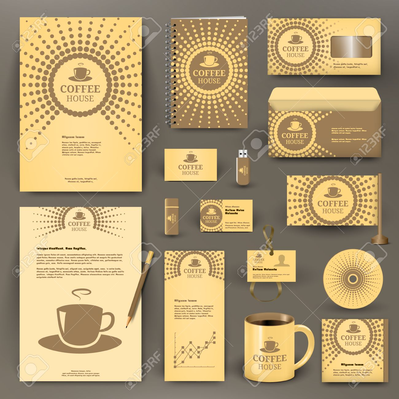 beige branding design for coffee shop, coffee house, cafe