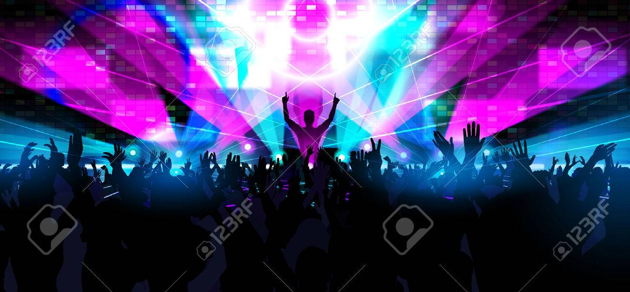 Electronic dance music festival with silhouettes of happy dancing