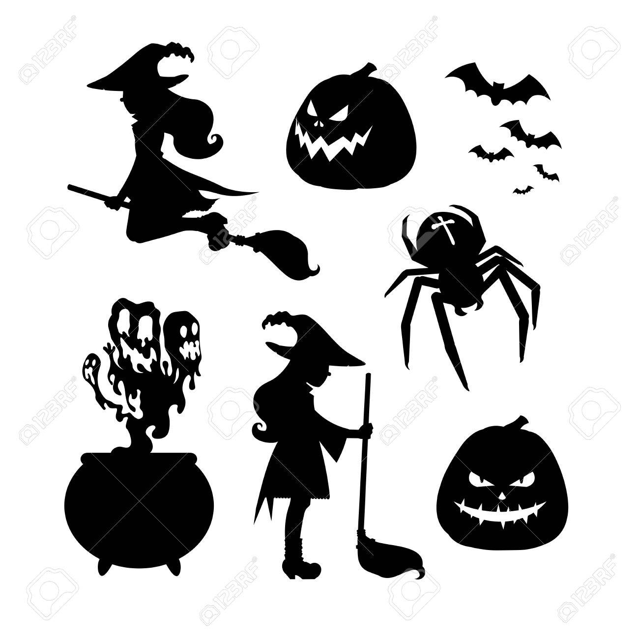 Set Of Halloween Silhouettes A Witch With A Broom Witch Flying