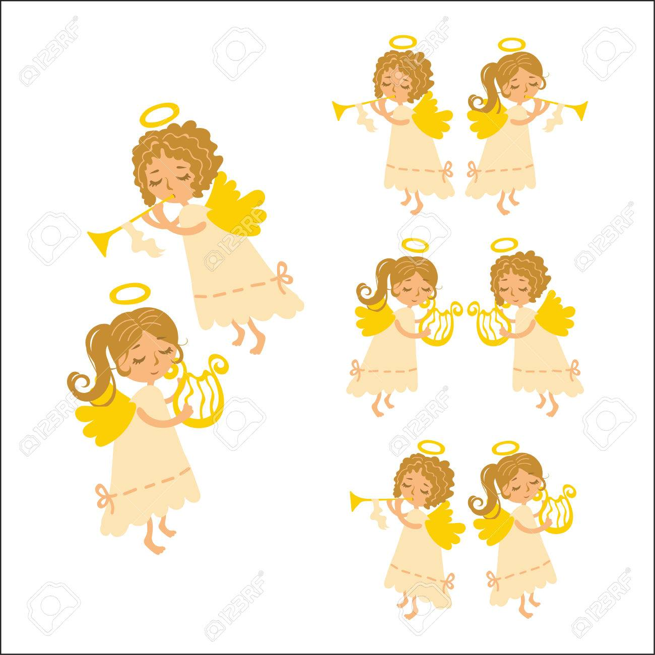 Vector Set Christmas Angels Playing Musical Instruments. Muse ...