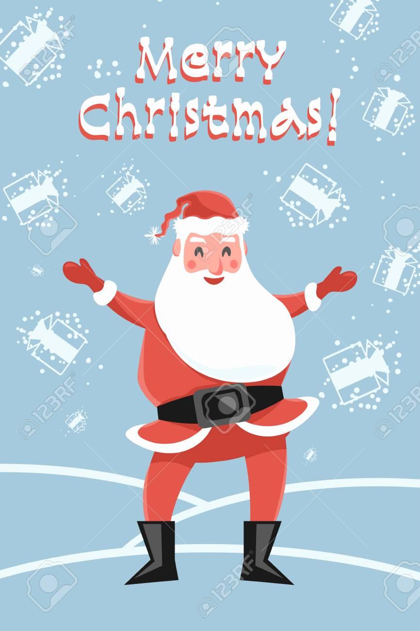 Santa claus glad snowfall of the gifts greeting card merry santa claus glad snowfall of the gifts greeting card merry christmas magic of santa m4hsunfo