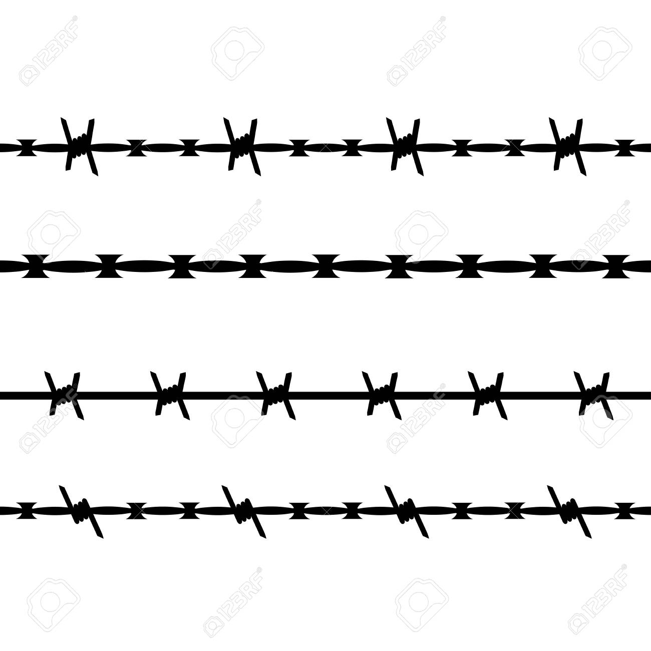 Vector Seamless Silhouette Of Barbed Wire. Types Of Barbed Wire ...