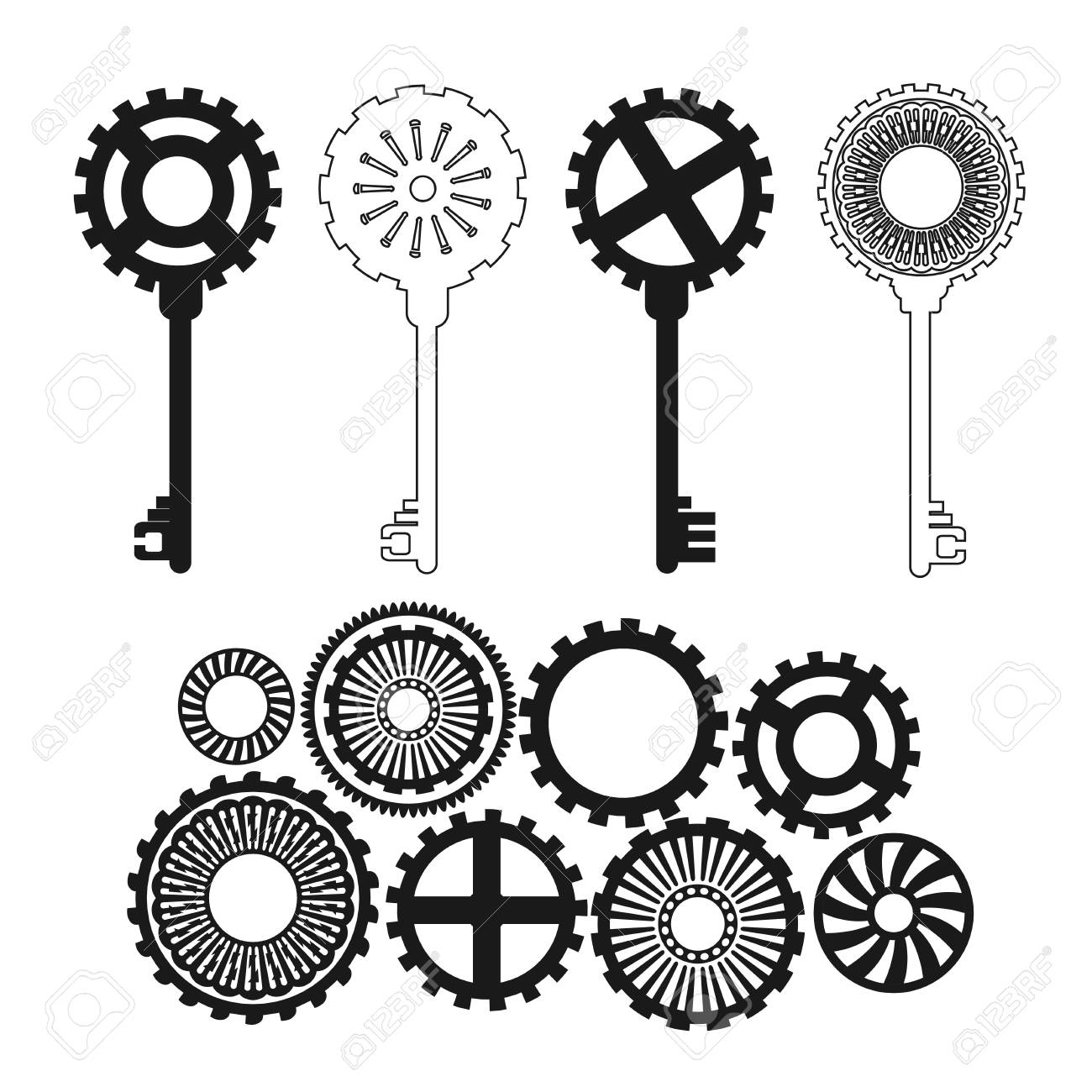 vector key in ste unk style fantastic gears royalty free  vector key in ste unk style fantastic gears stock vector 95438728