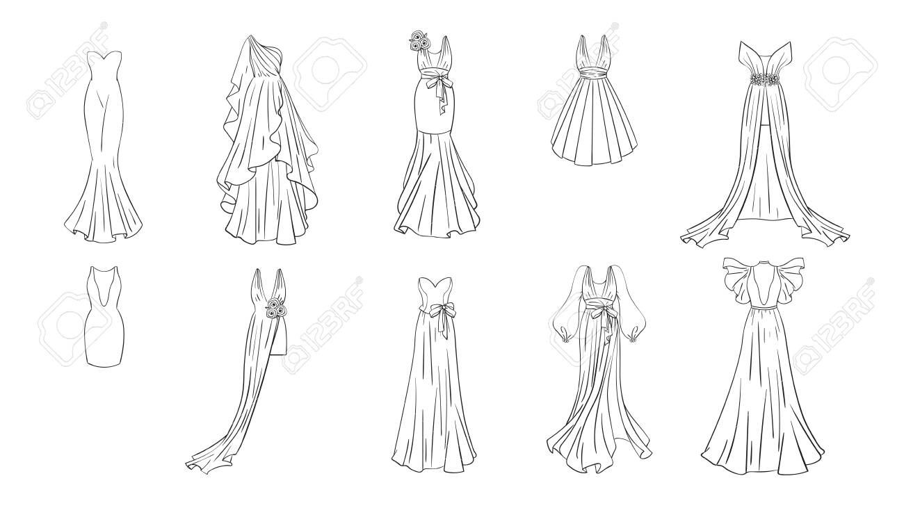Prom Dress Coloring Pages Fashion Dresses
