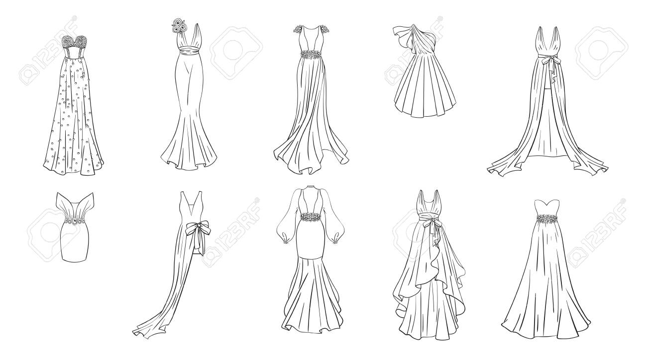 A Set Of Different Dresses Modern And Classic Style Dresses Royalty Free Cliparts Vectors And Stock Illustration Image 124193074
