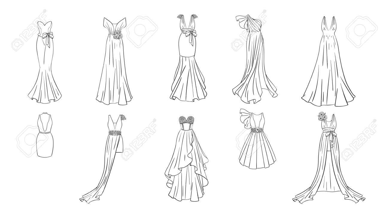A set of different dresses. Modern and classic style. Dresses..