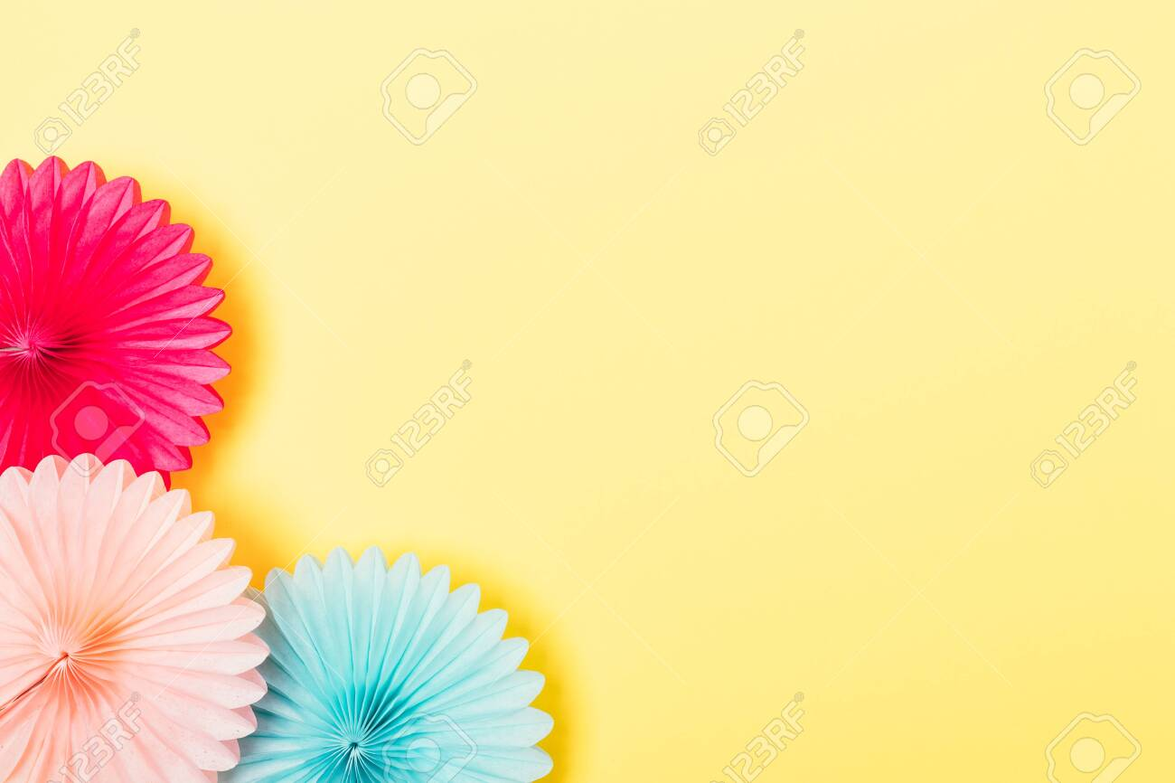 Party Background Of Tissue Paper Decorations Of Pink And Blue