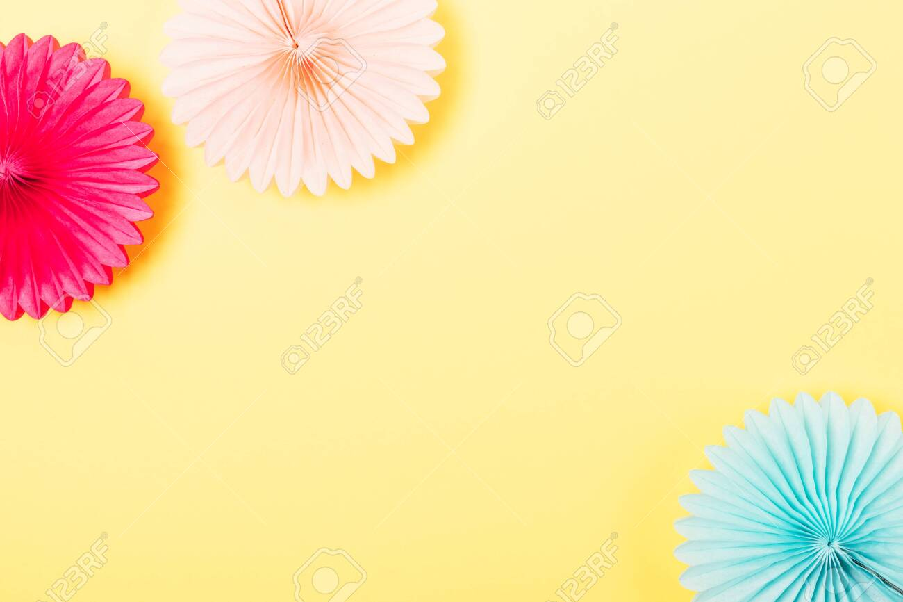 Flat Lay Party Background Of Tissue Paper Decorations Of Pink