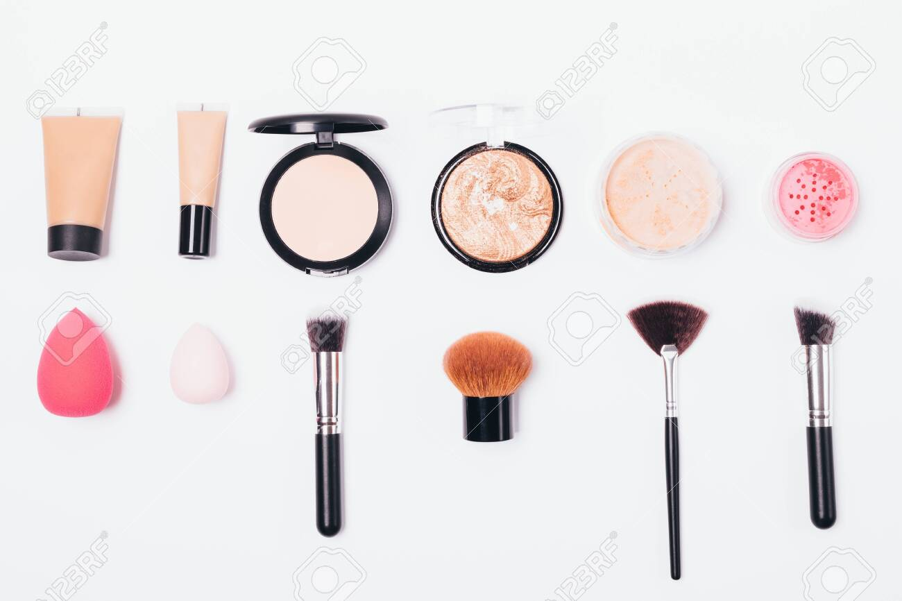 Cosmetic Products And Specific Tools For Its Application Flat Stock Photo Picture And Royalty Free Image Image 122689689
