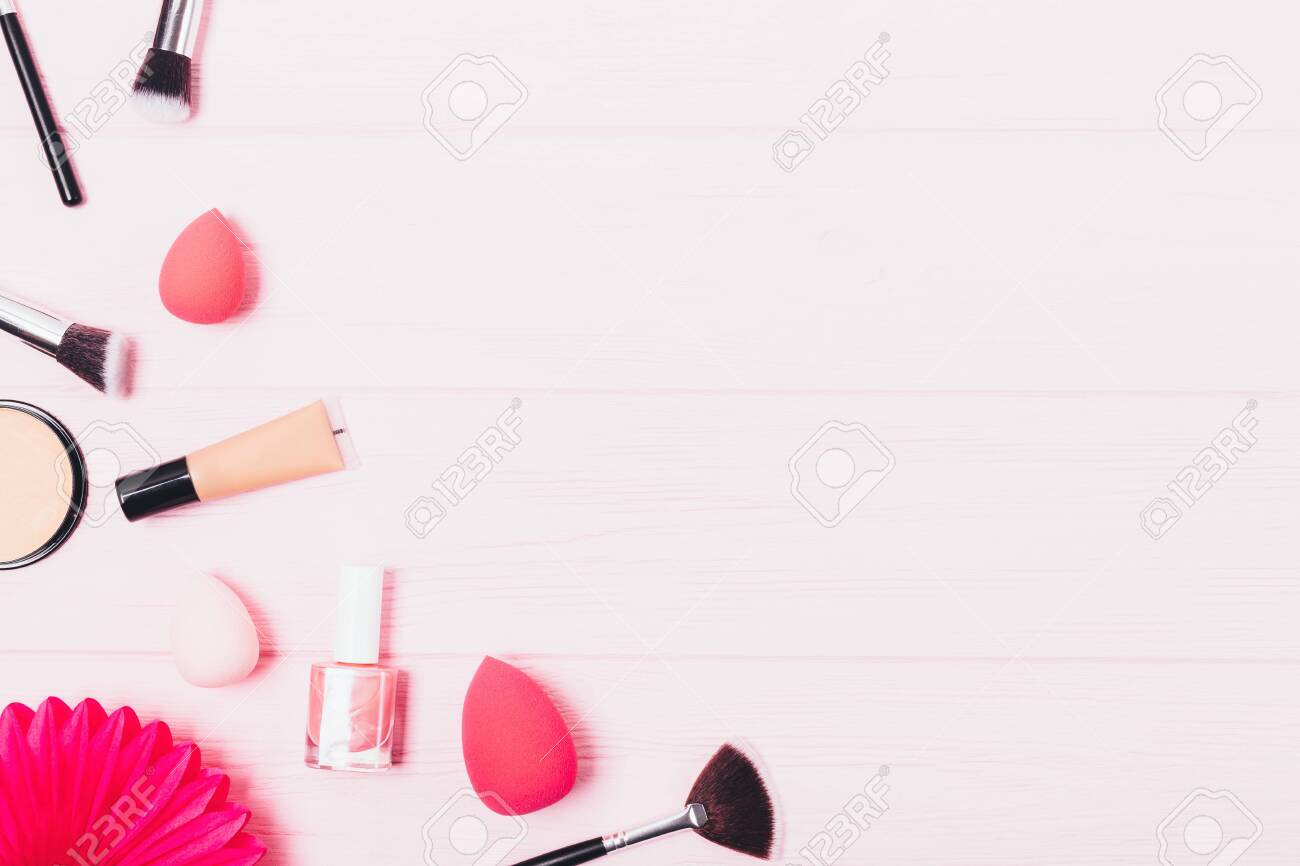 Flat Lay Background Of Makeup Beauty Products And Brushes And Stock Photo Picture And Royalty Free Image Image 122689707