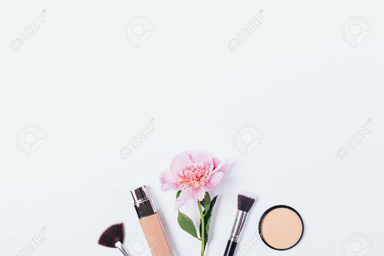 Bottle Of Foundation Next To Brush For Application Top View Stock Photo Picture And Royalty Free Image Image 126423503