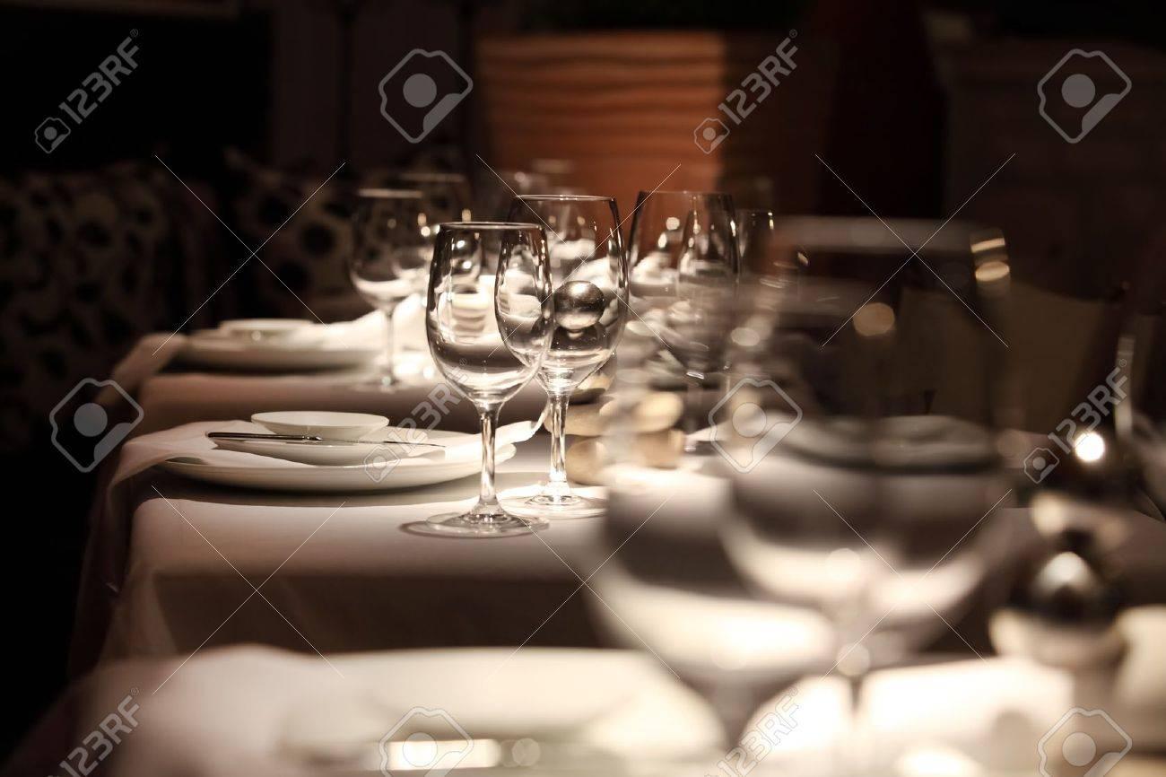 Fancy restaurant table setting - Dinner Table Setting Beautifully Set Table In A Restaurant Stock Photo