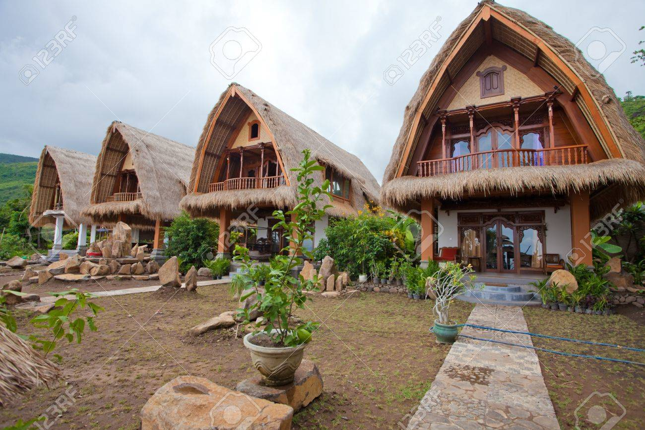 Bungalow In Bali Part - 45: Thatch Roof Bungalow On The North East Coast Of Bali, Indonesia. Stock  Photo -