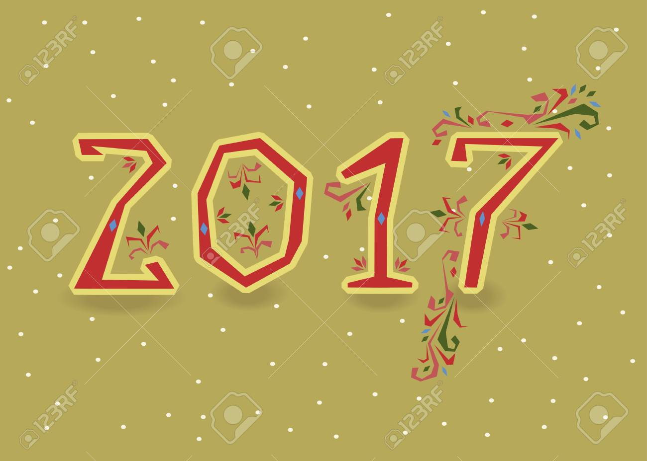 happy new year 2017 calendar template red symbols with floral decor country