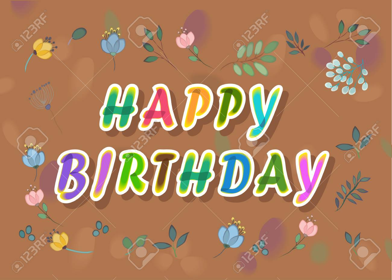 happy birthday floral card artistic font watercolor letters brown background with watercolor