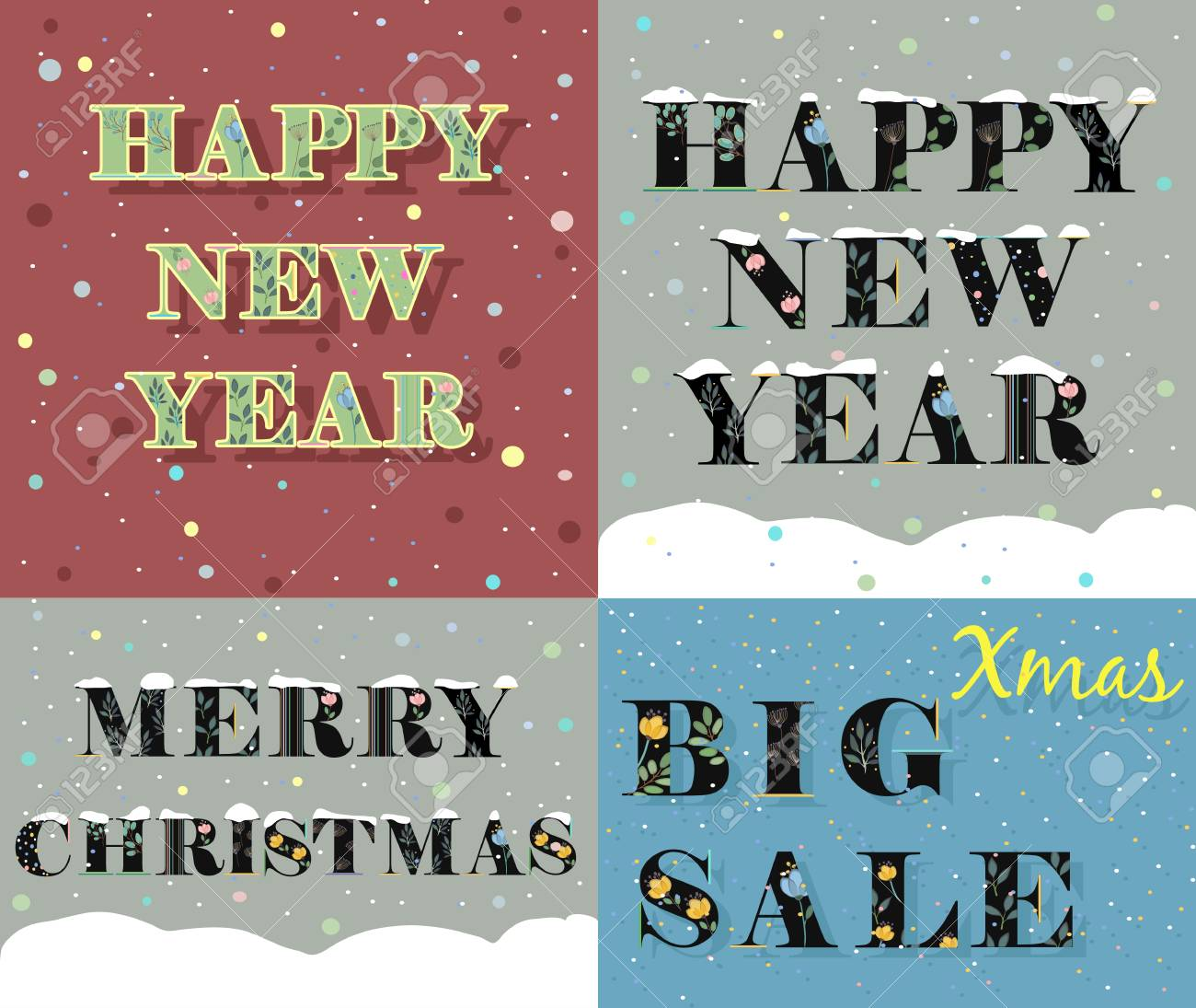New Year And Christmas Greeting Cards. Artistic Fonts. Letters ...