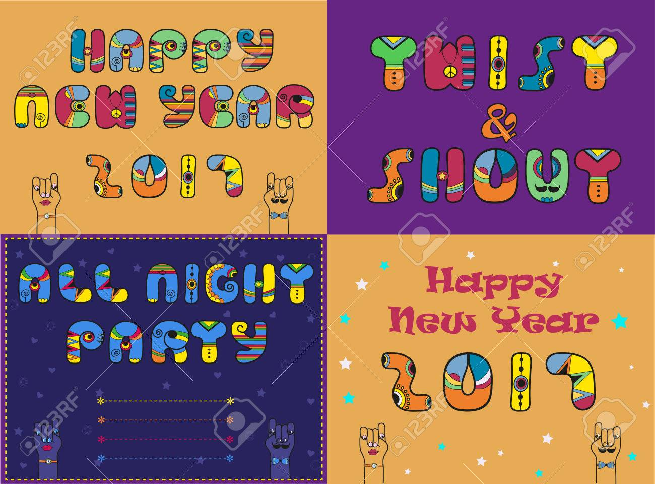 cards with festive and party texts happy new year 2017 twist and shout