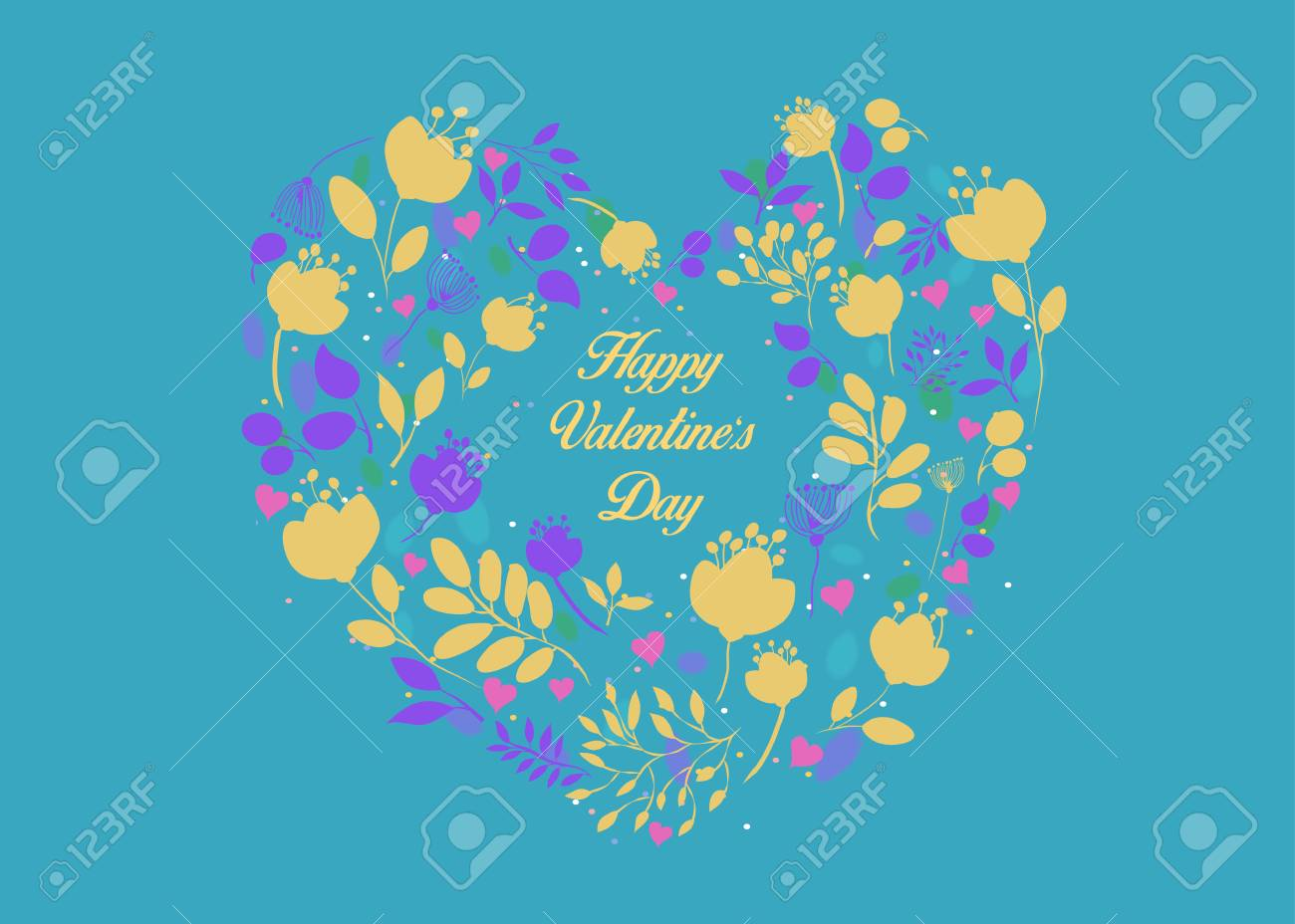 Happy Valentines Day Floral Heart With Small Pink Hearts Yellow