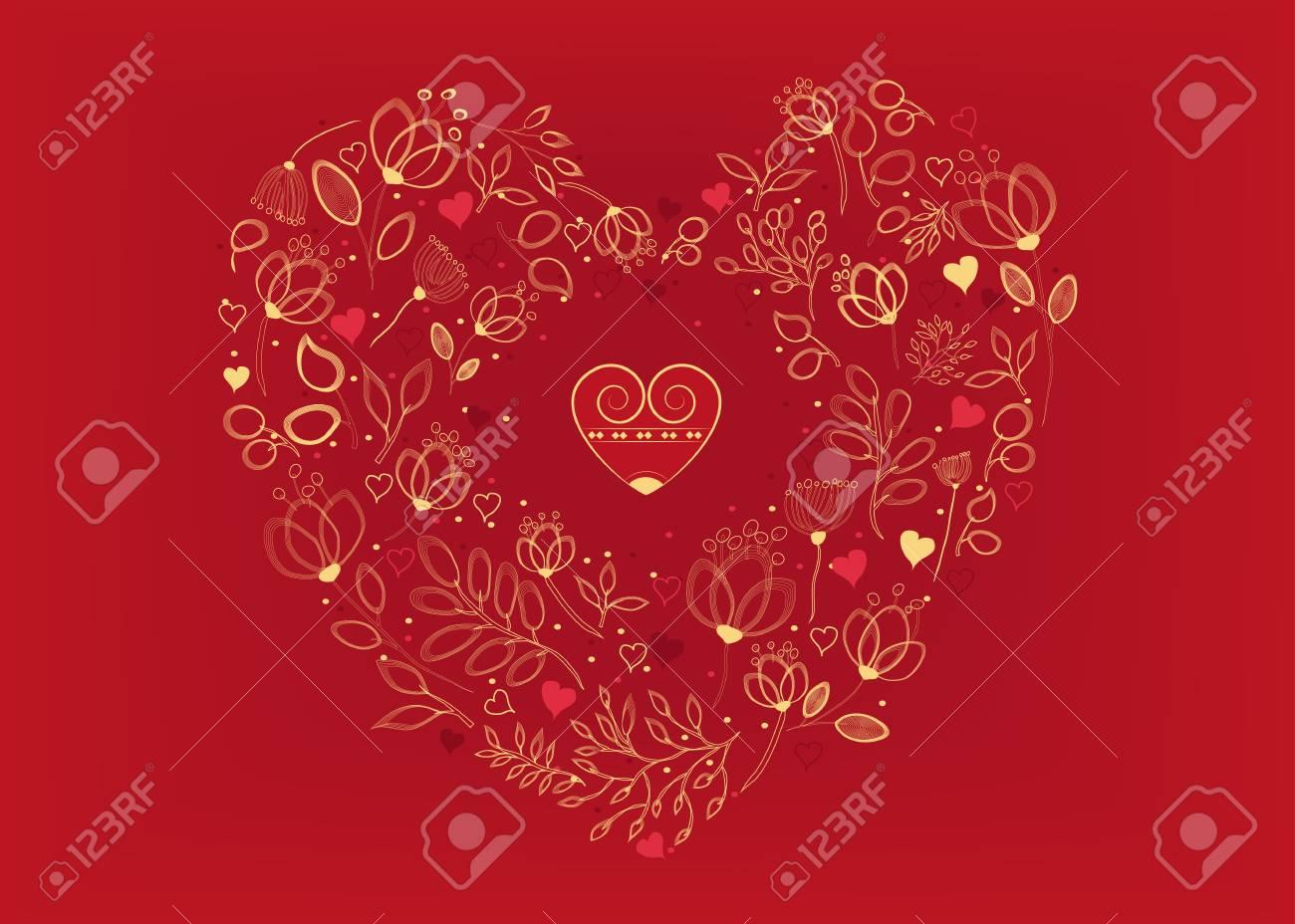 Corazón Floral Con Corazones Pequeños Flores Agraciadas Amarillas