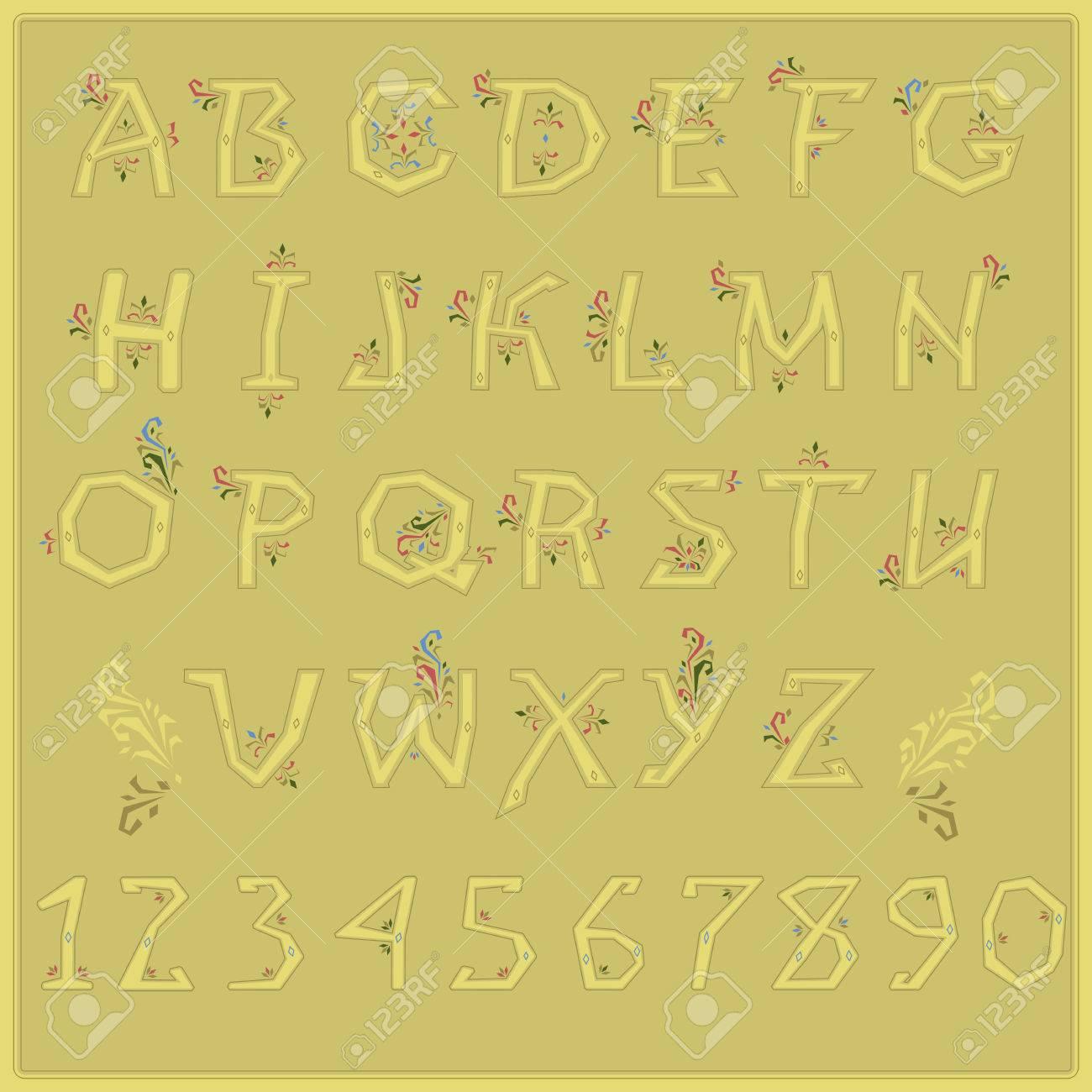 Alphabet Artistique police paysale. alphabet artistique populaire. des lettres jaunes