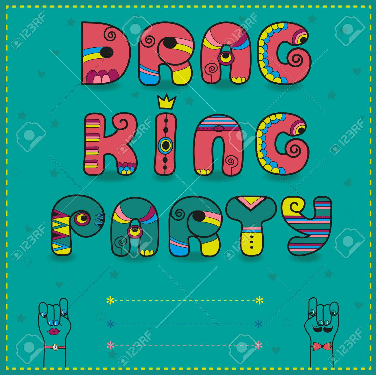 Inscription Drag King Party Funny Pink Letters With Bright Parts