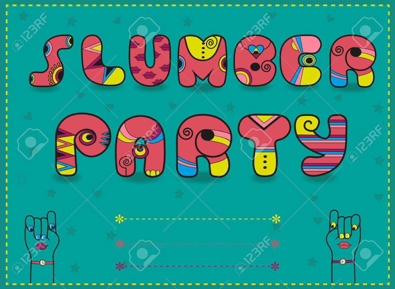 Inscription Slumber Party. Invitation To Party. Funny Pink Letters ...