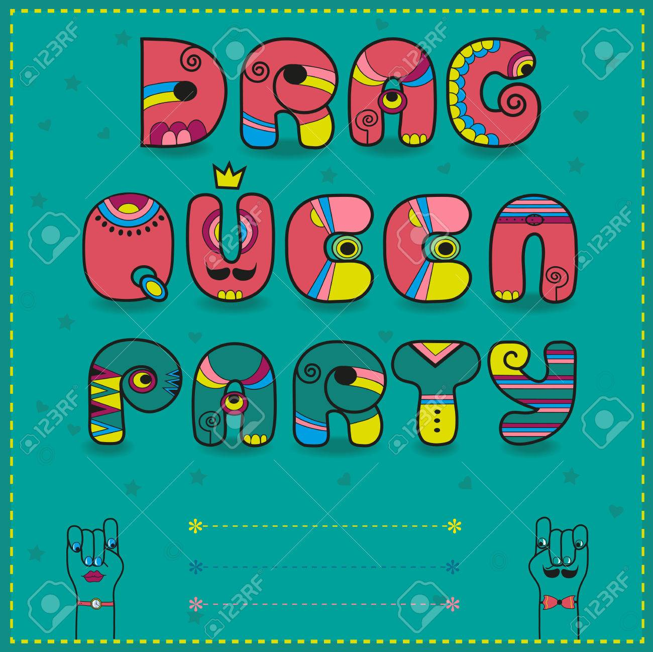 Inscription drag queen party invitation to party funny pink illustration inscription drag queen party invitation to party funny pink and green with bright parts letter u with yellow crown place for custom text stopboris Choice Image