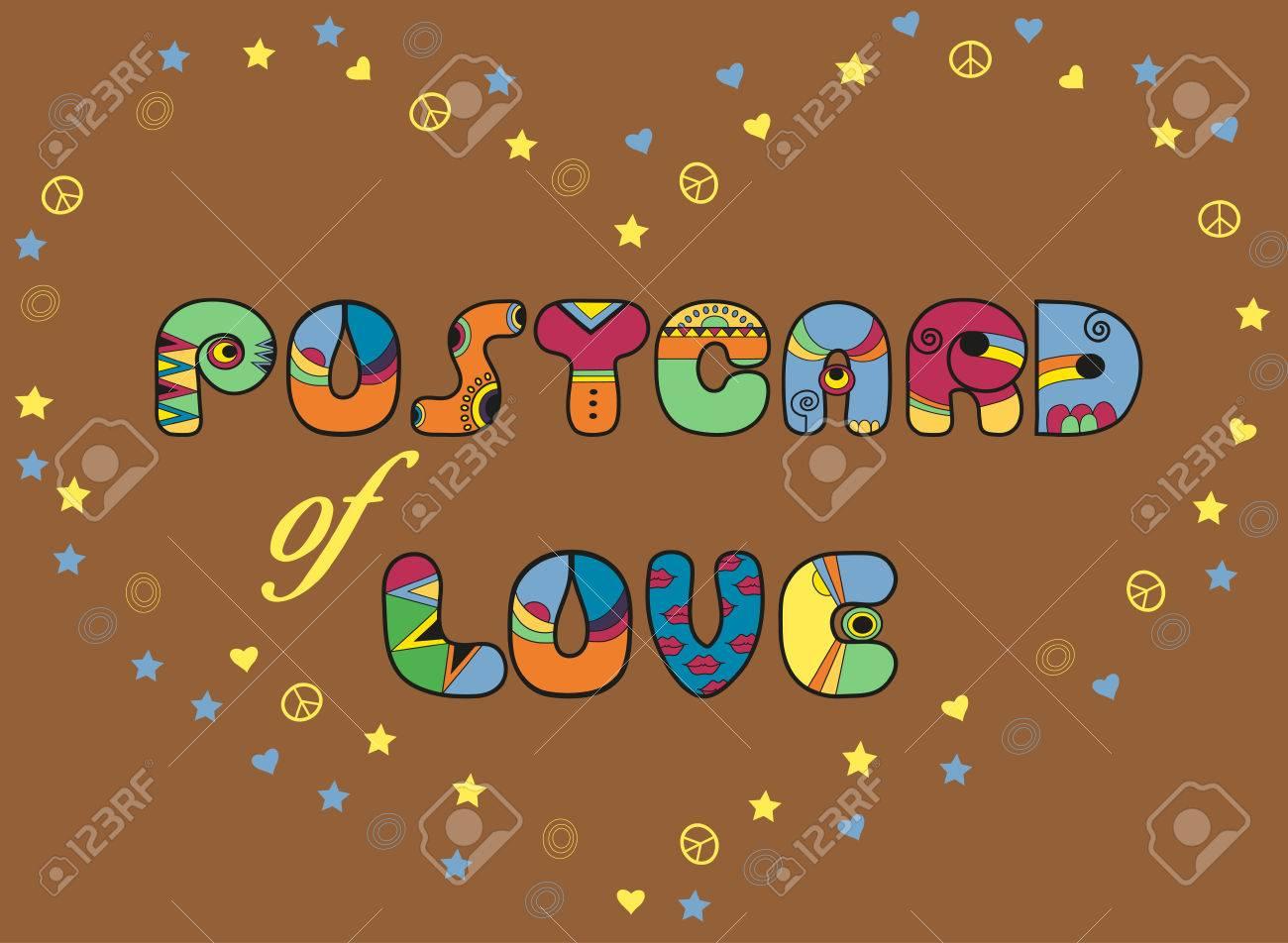 Inscription Carte Postale De L Amour Police Artistique Lettres De Couleur C Ur Par Symboles D étoiles De C Urs Et De Pacifiques Illustration