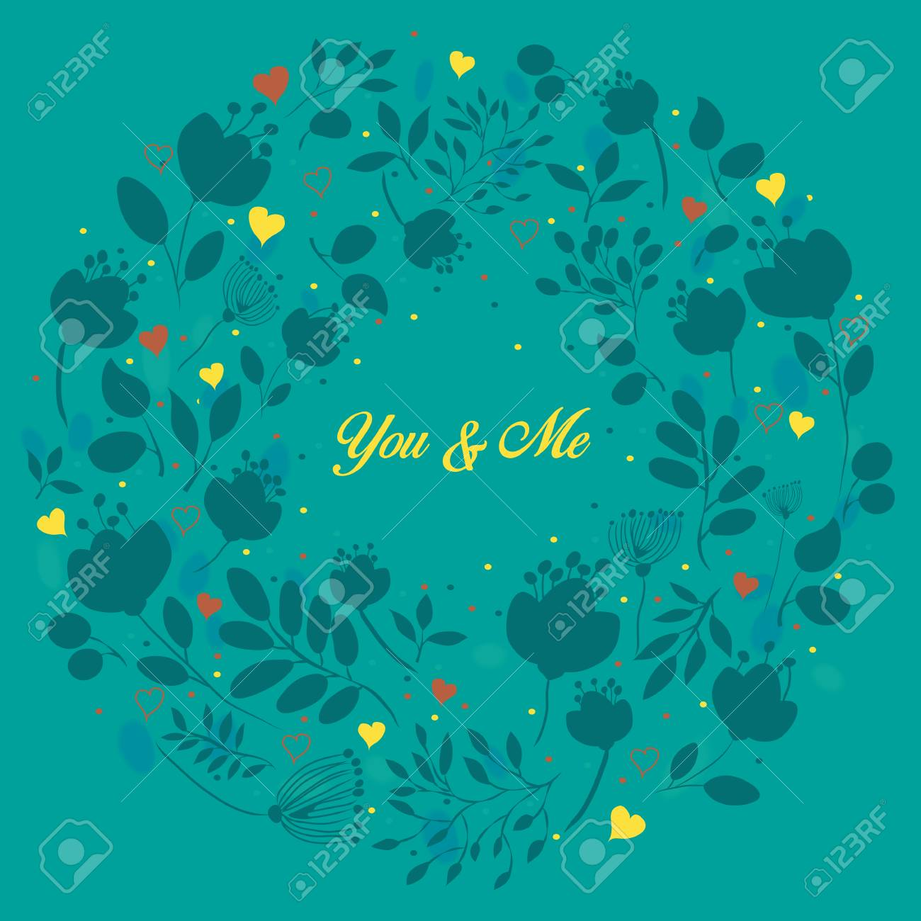 Blue floral ring you and me yellow inscription graceful blue blue floral ring you and me yellow inscription graceful blue flowers and plants izmirmasajfo