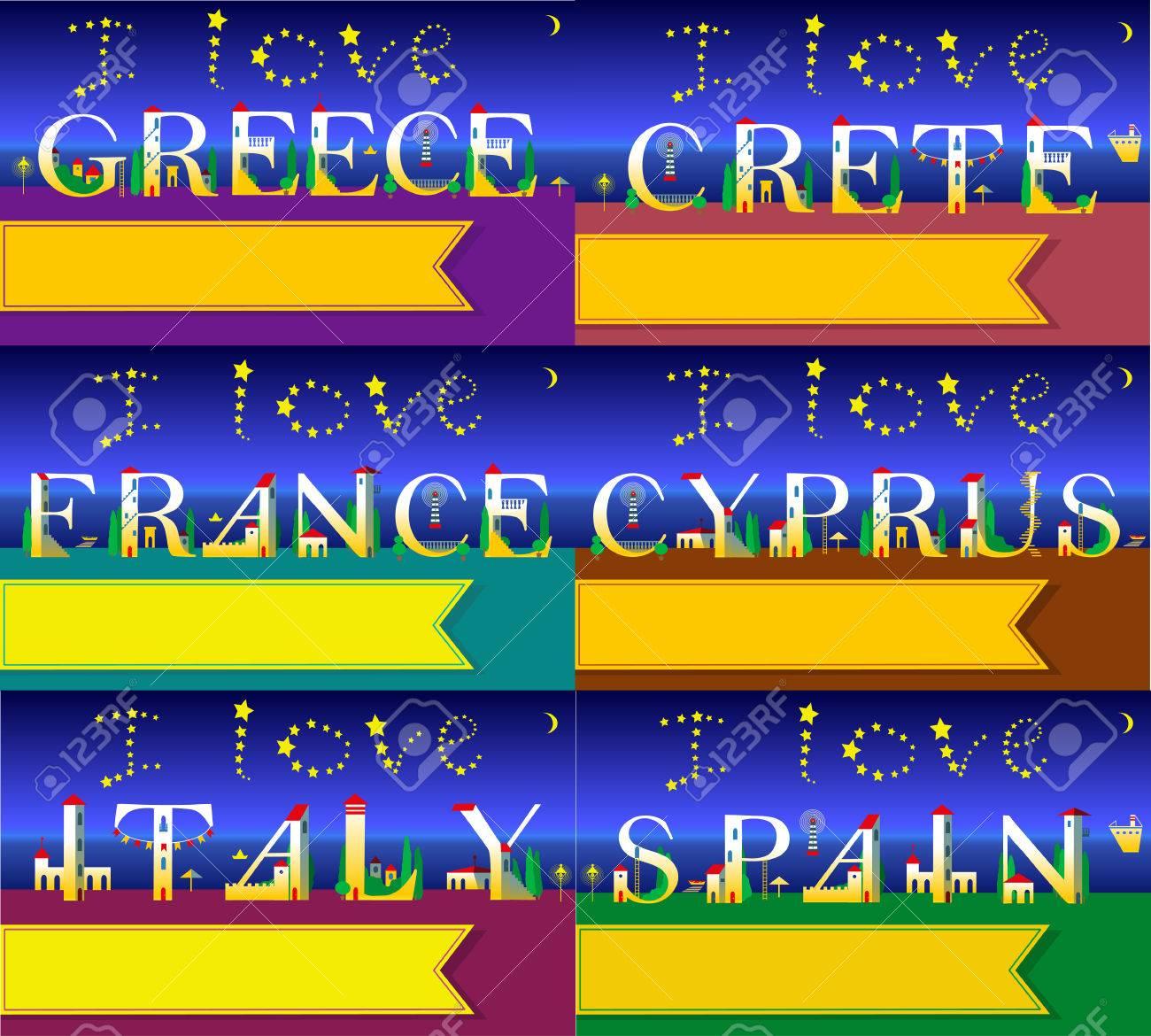 Carte Crete Chypre.Cartes De Voyage Police Artistique Plage De Nuit D Ete J Aime L Italie Grece Espagne France Crete Chypre Des Maisons Blanches Mignonnes